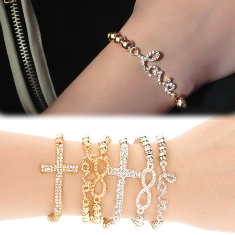 New Trendy Rhinestone Inlaid Love Letter 8 Cross Pendent Elastic Woman Bracelet Female Jewelry Accessories In Charm Bracelets From On