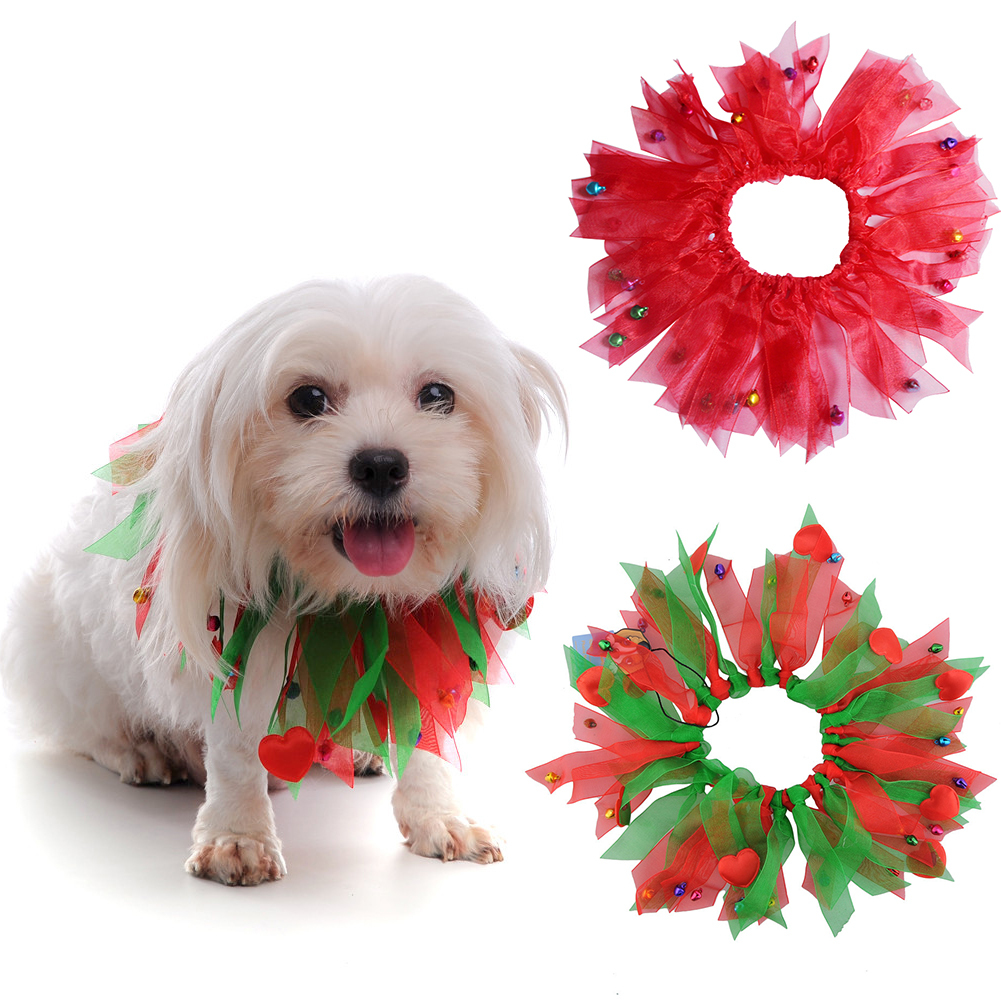 TINGHAO Pet Dog Cute Christmas Decorative Collar with Jingle Bells Xmas Costume Dress