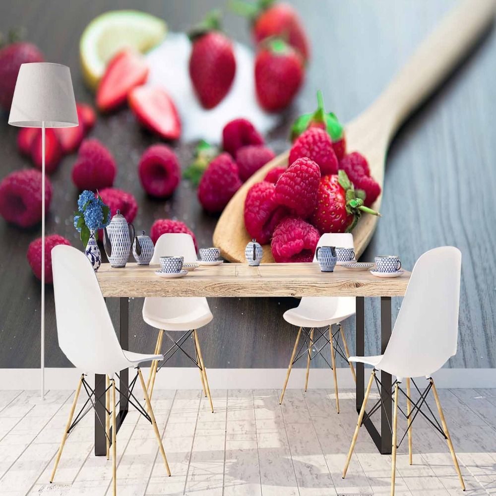 Else Gray Wood Spoon On Raspberry Fruits 3d Print Photo Cleanable Fabric Mural Home Decor Kitchen Background Wallpaper