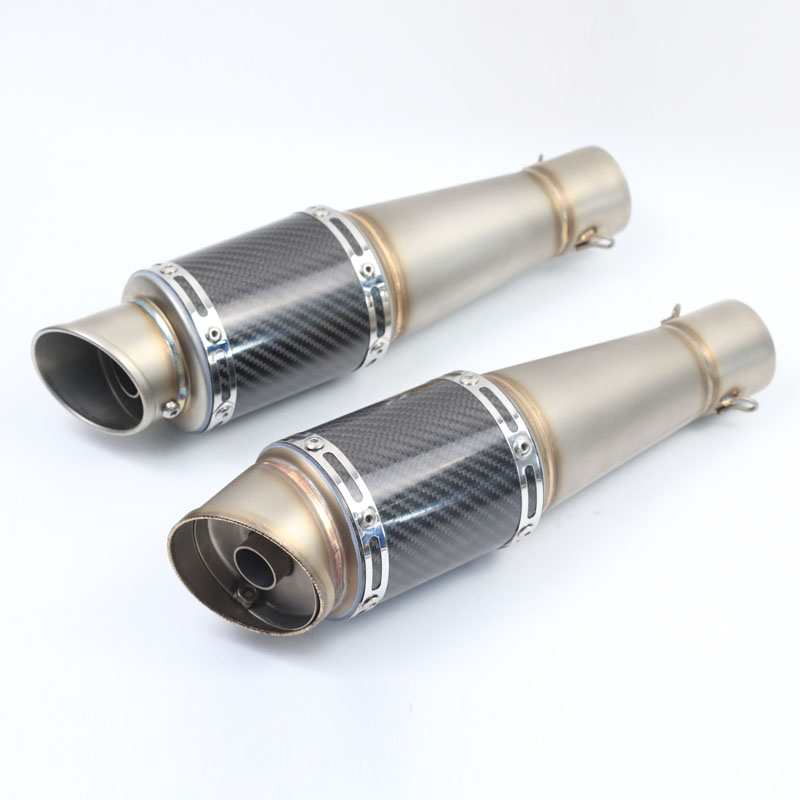 51mm Inlet Universal Motorcycle Exhaust Muffler Pipe Escape Real Carbon Fiber Titanium With Moveable DB Killer for muffler motoo 51mm real carbon fiber stainless steel motorcycle exhaust pipe motocross muffler with db killer