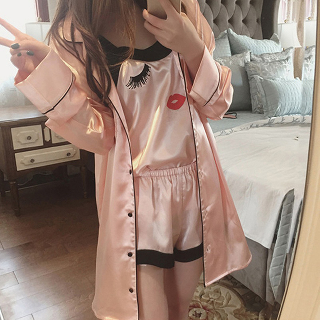 c5528efb5b 4 Pieces Women Summer Pajamas Top Shorts Robe Eye Mask Sleepwear Clothing  Set