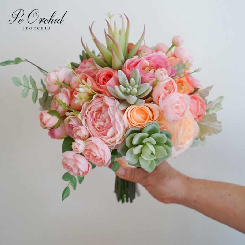 Peorchid 2019 Menakjubkan Musim Panas Pernikahan Karangan Bunga Succulents Blush Peach Buatan Bunga Pengantin Karangan Bunga De Casamento