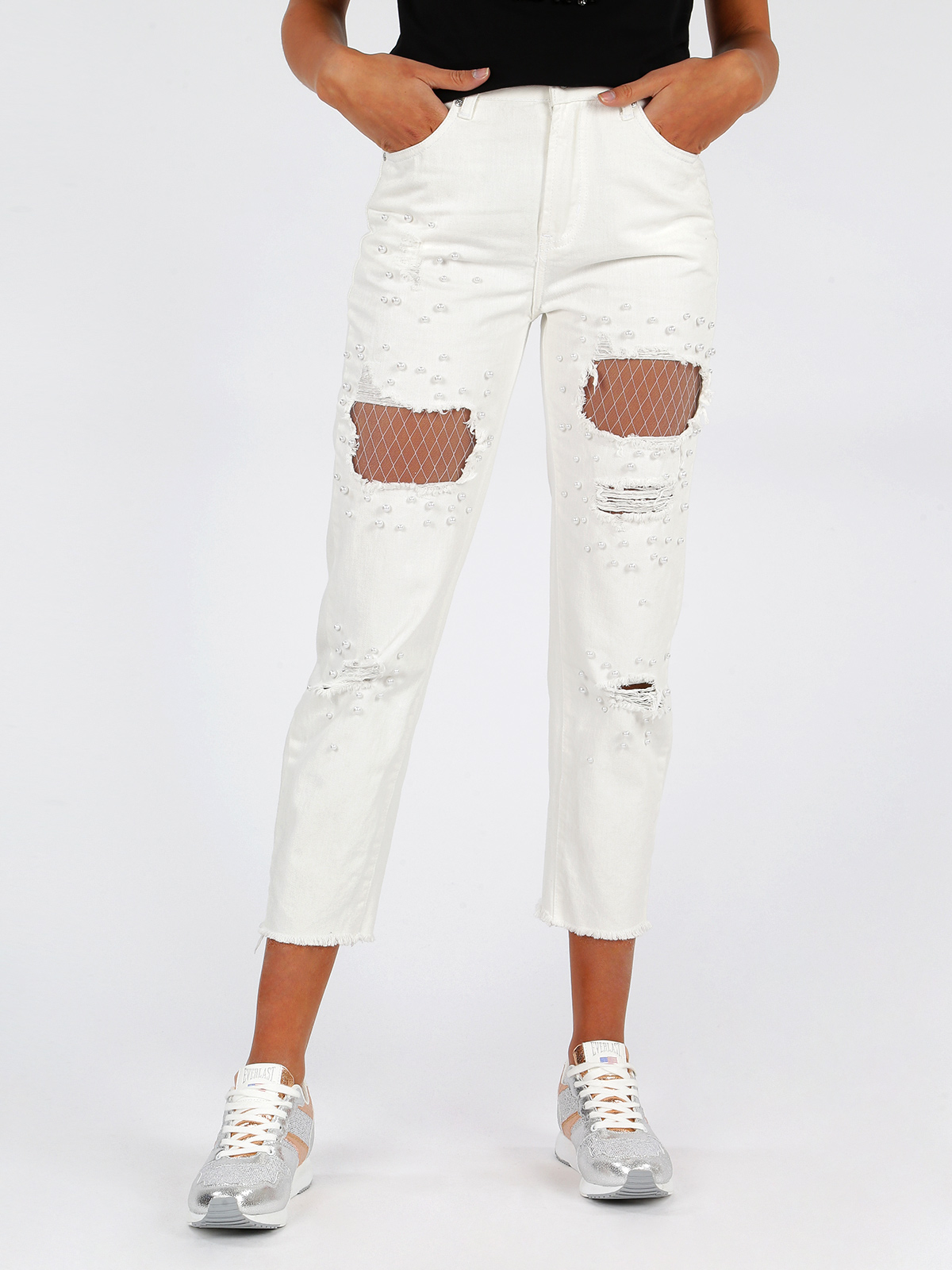 Jeans Mom White Ripped With Pearls