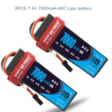 2PCS DXF 7.4V 7000mAh 60C Max 120C LiPo Battery Pack 2S HardCase For 1/8 1/10 RC Car Model TRX Slash Emaxx цены онлайн