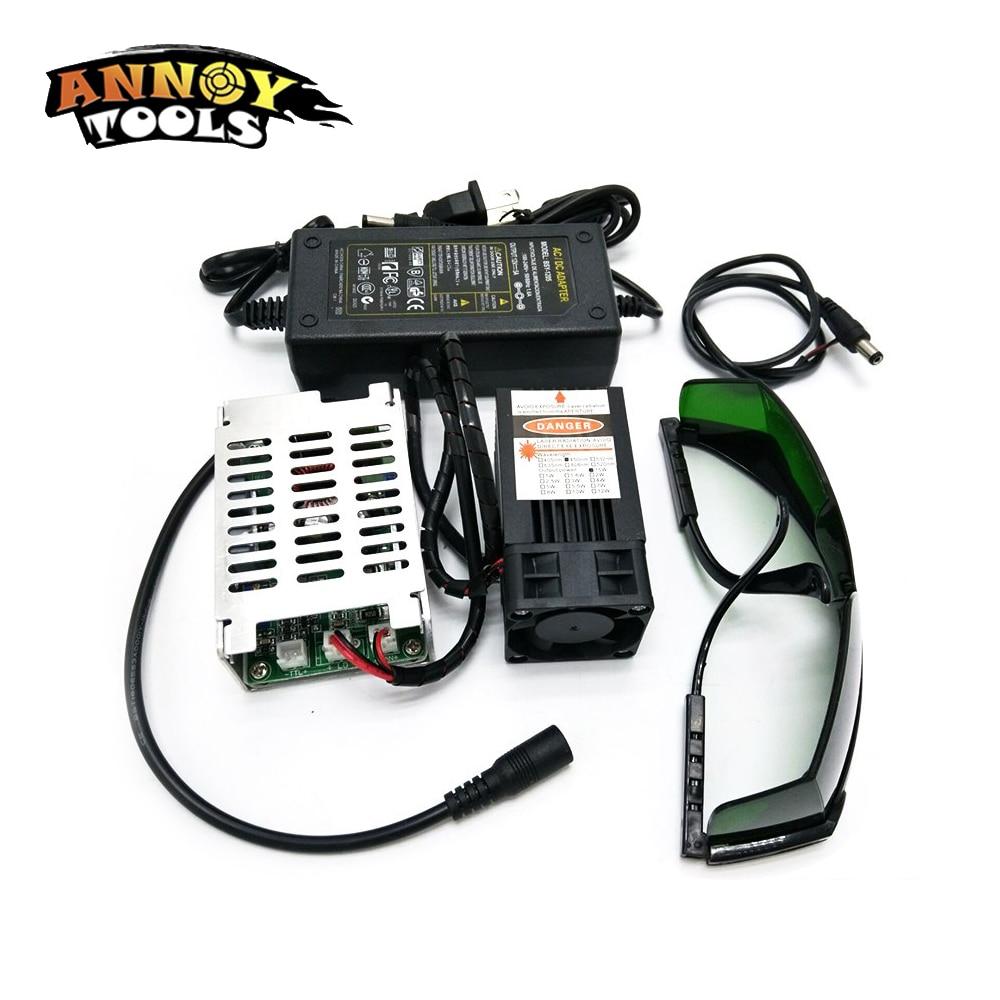 450nm 15000 mW 12 V alta potencia TTL enfoque ajustable módulo láser azul DIY accesorios de grabador láser 15 W láser la cabeza
