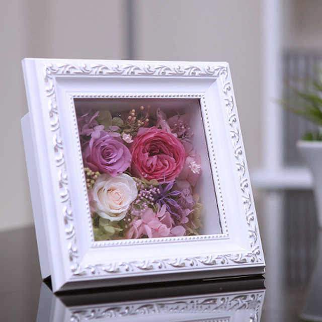 New Creative Wooden Flower Box Photo Frame Display Rose Flower Gift ...