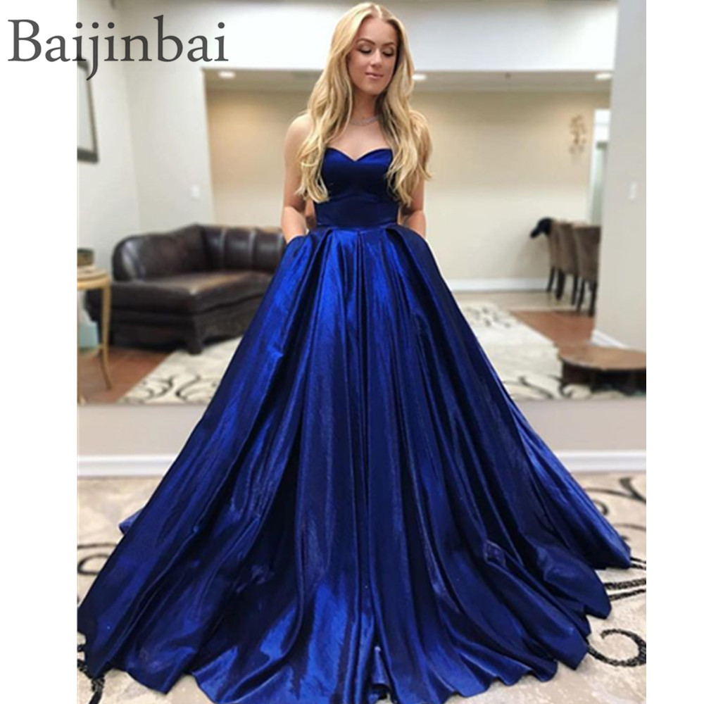 Baijinbai Elegant Sweetheart Ball Gown Prom Dresses Corset Lace Up Back Satin Sleeveless Pageant Party Gowns Evening Dress Long