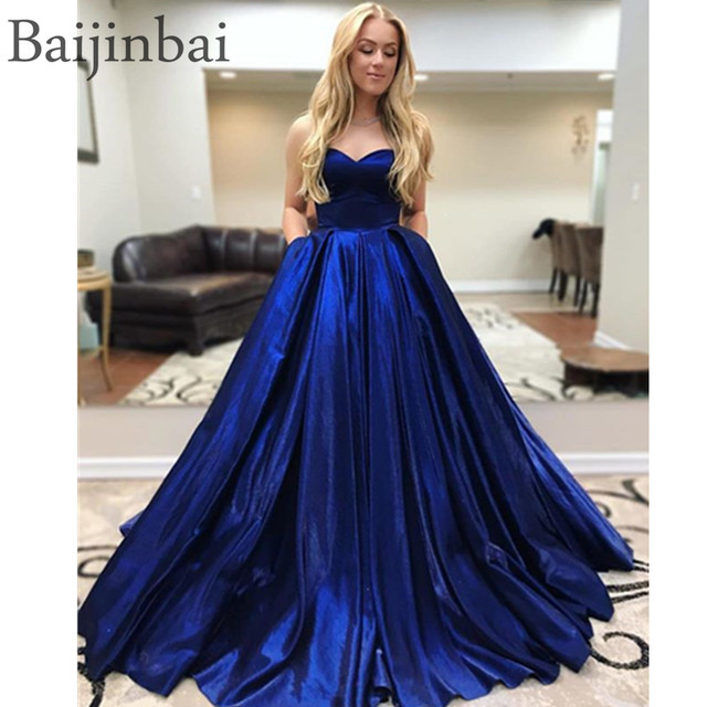 9ea17bd84b0ed Baijinbai Elegant Sweetheart Ball Gown Prom Dresses Corset Lace Up Back  Satin Sleeveless Pageant Party Gowns Evening Dress Long