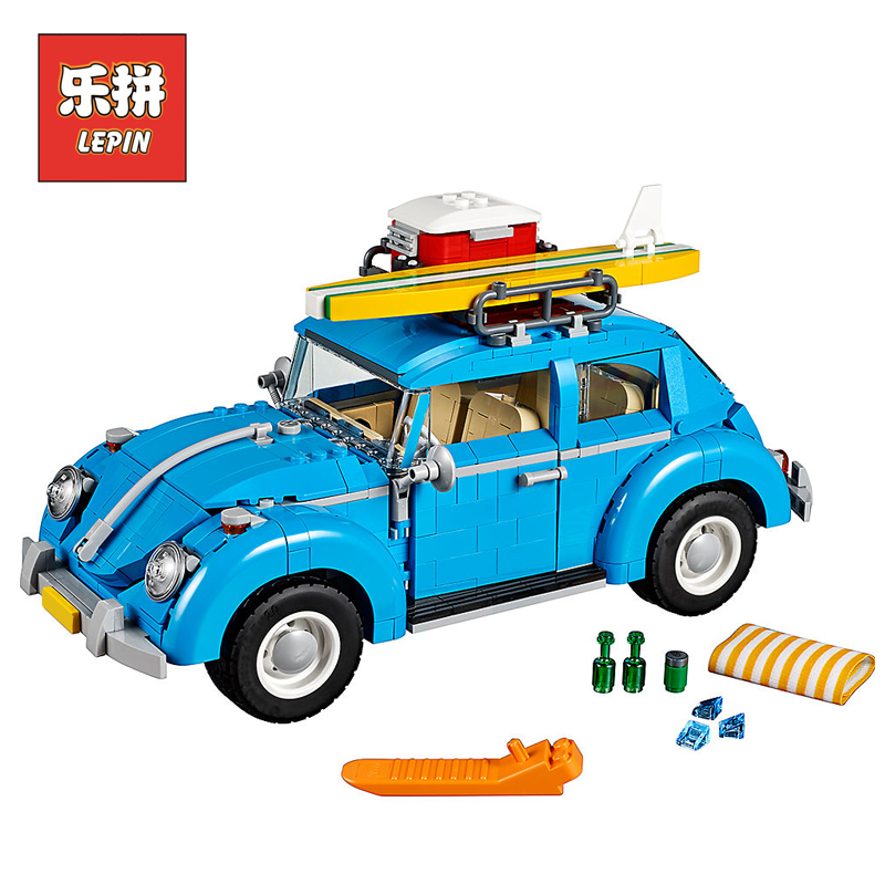 Lepin 21003 City Car Beetle Model Building Blocks Bricks Blue Car Toy Kid Gift Set Compatible Legoings 10252 Technic Model 2018 lepin 21003 technic series city car beetle model educational building blocks compatible legoing 10252 toy as children gift