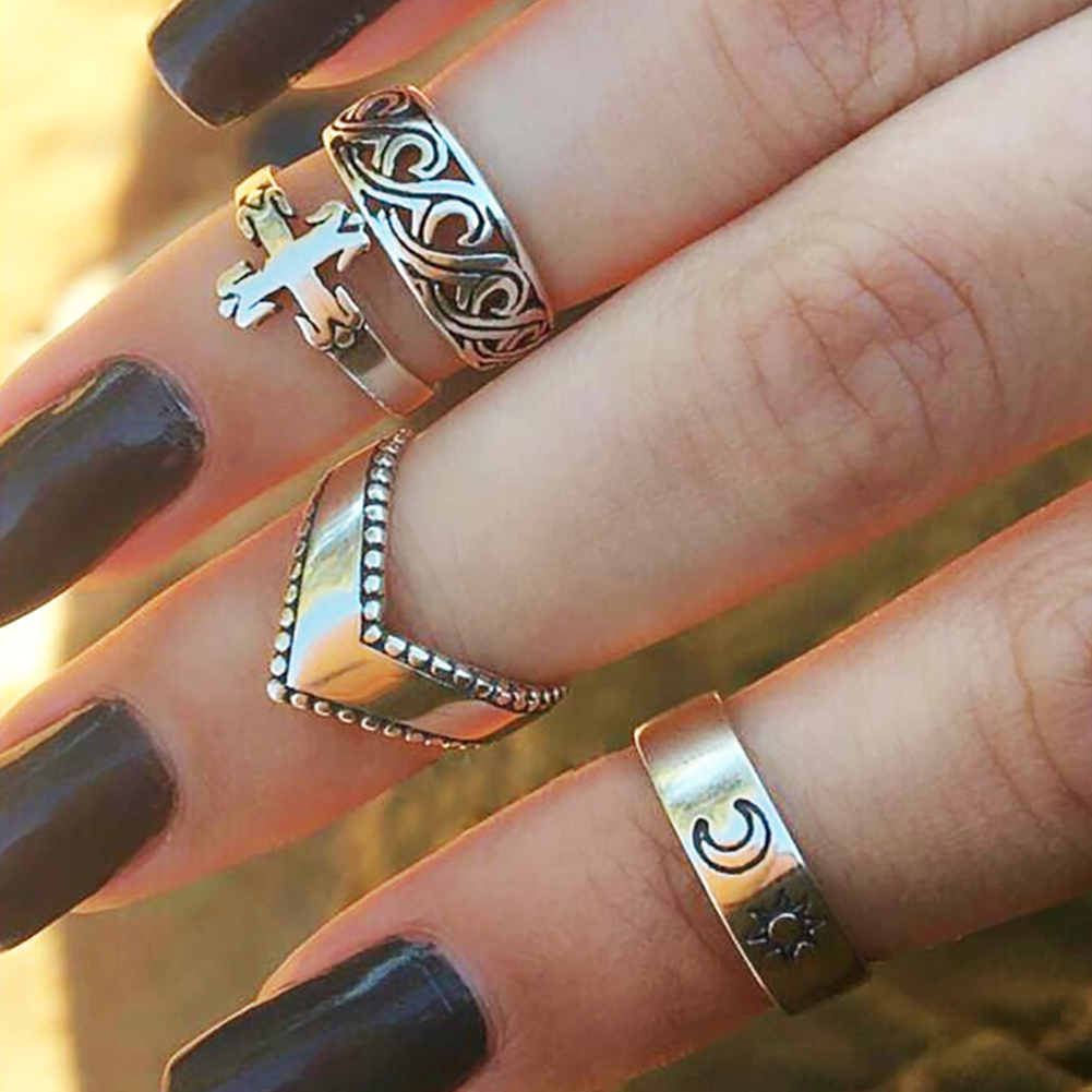 4Pcs Women Fashion Cross Sun Moon Hallow Out Design Finger Ring Set Jewelry