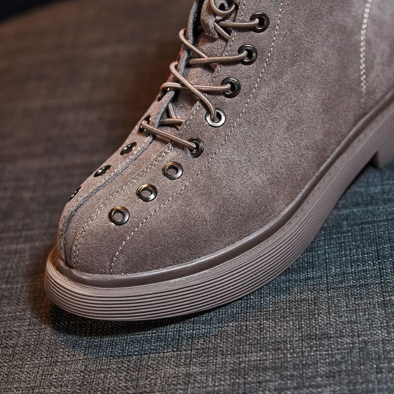 Bottes Cuir De up Rétro Plat Zip Chaussures Femmes Mat Couleurs amp; Talons 2 Lace En Martin Femelle black Casual Daim Khaki Vache cq50OZ5Tw
