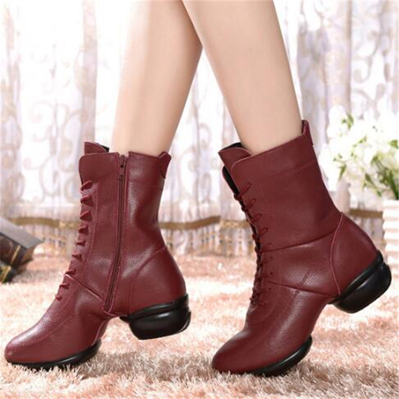 LAIDILANGTU Autumn winter new jazz dance boots ladies square dance shoes real leather soft bottom Superstar Sneakers dance boots