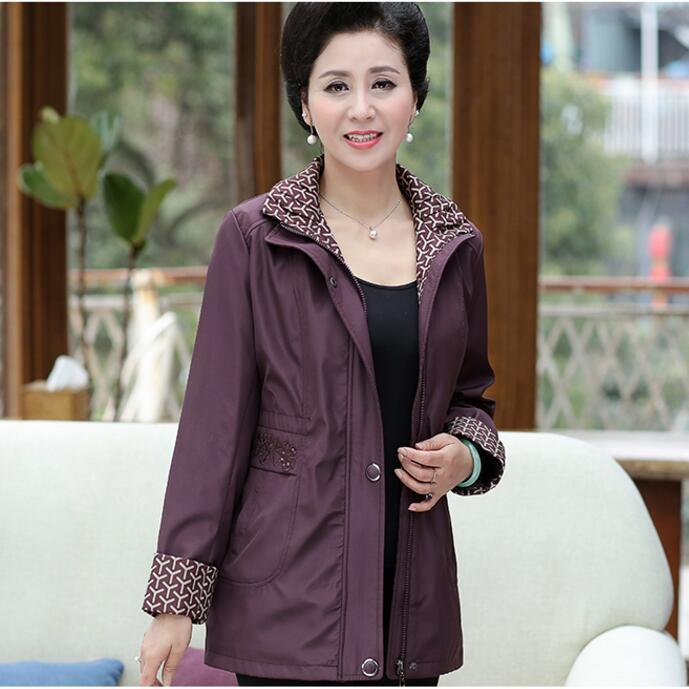 High Quality 2018 Spring Autumn Middle Aged Women   Basic     Jacket   Pocket Zipper Hooded Outwear Casual Long Sleeve Coat Plus Size