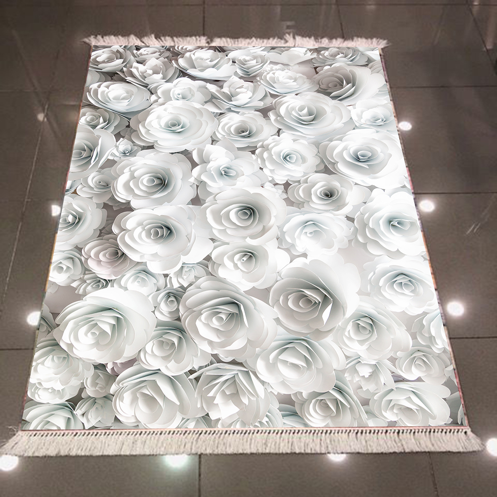 Else Black White Roses Flowers Floral Nature Nordec 3d Print Microfiber Anti Slip Back Washable Decorative Kilim Area Rug Carpet