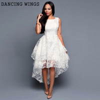 summer dress 2019 temperament mesh party vintage tutu women dress sleeveless big swing irregular long dress white