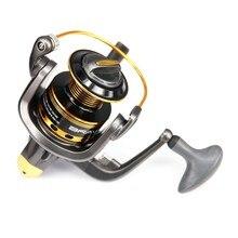 ФОТО good quality 10bb spinning fishing reel metal line spool interchangable crank handle high end nylon body drag power 8kg