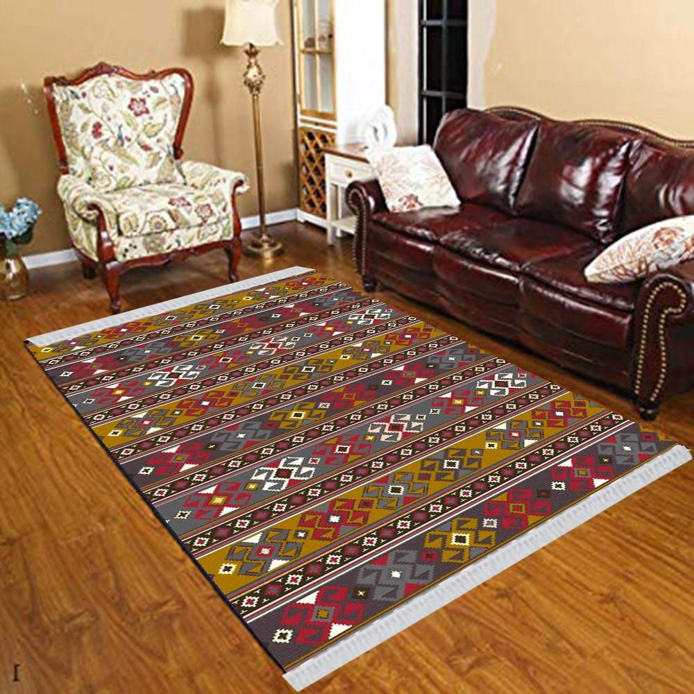Else Brown Red Green Aztec Retro Ethnic Floral 3d Print Anti Slip Kilim Washable Decorative Kilim Tassel Rug Bohemian Carpet