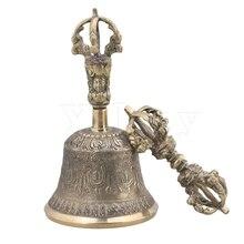 Yibuy Medium Size Golden Color Buddhist Prayer Bell Cymbals Bells Vajra