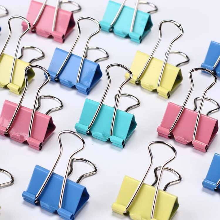 48 Pcs/set Discount Price Colorful Metal Binder Clips High Quality Paper Clip 25mm School Office Learning Supplies Random Color
