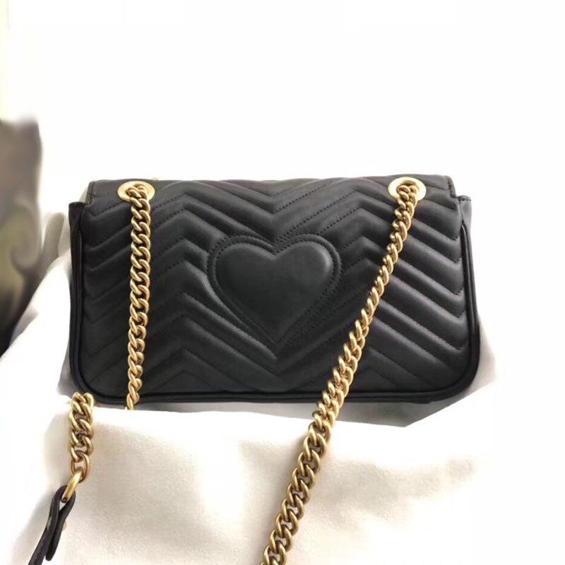 高級女性は本物の革ファッション女性のメッセンジャーハート形縫合バッグ高品質チェーンショルダークロスボディバッグ  グループ上の スーツケース & バッグ からの トップハンドルバッグ の中 2