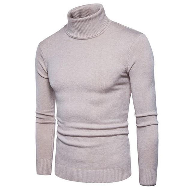 Jersey de Cuello Alto Manga Larga Pullover Color Sólido Suéter de Punto para Hombre KWHU89igQ
