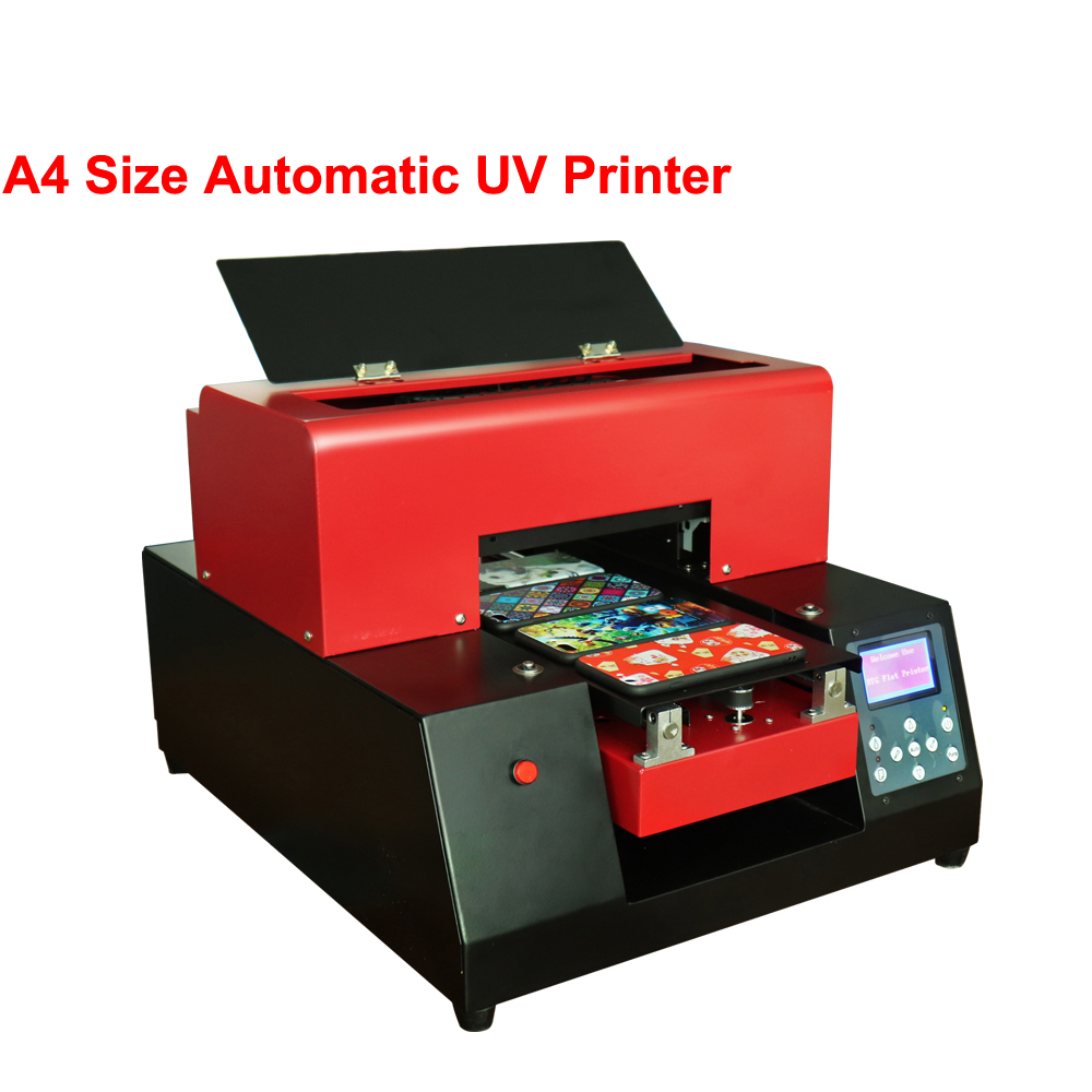 Metal UV Printer Automatic UV Flatbed Printer A4 Size Phone Case Metal Glass TPU PVC Printing Machine For With Ink With Software 2017 new arrival pre coating for uv led ink uv mercury ink for glass or metal printing for uv printer