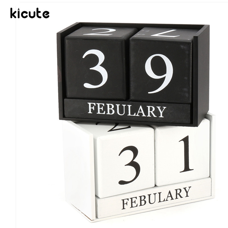Kicute European Perpetual Wooden Calendar Desktop Block Wood Calendar DIY Yearly Planner Pen Holder Desk Office Stationery