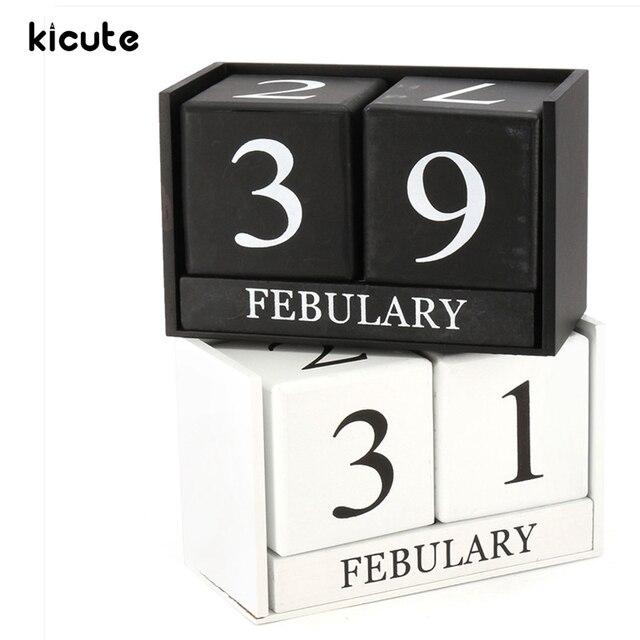 kicute european perpetual wooden calendar desktop block wood