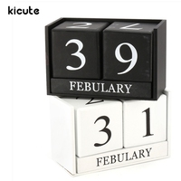 Kicute European Perpetual Wooden Calendar Desktop Block Wood Calendar DIY Yearly Planner Pen Holder Desk Office