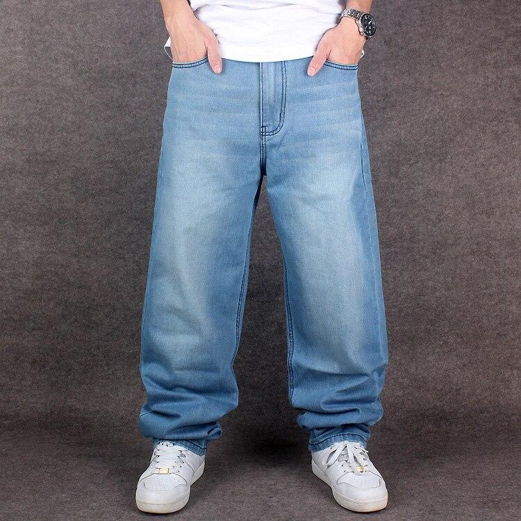 2019 de los hombres de la marca de vaqueros Loose recto moda hip-hop Denim  Pantalones largos Pantalones azul claro de gran tamaño de pantalones anchos  de ... 13761fcfceb