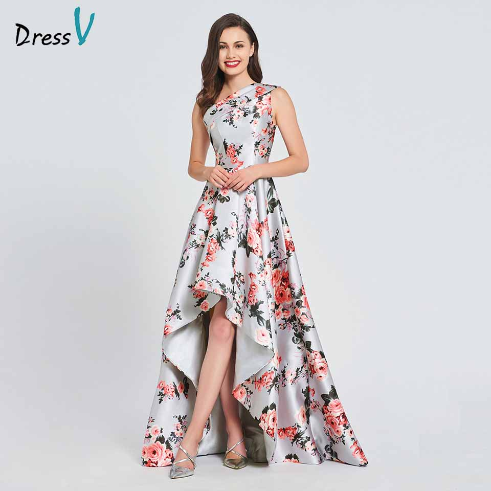 Dressv Printing Elegant A Line Long Prom Dress One Shoulder Floor Length Wedding Evening Party Gown Prom Dresses Customize