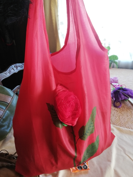 Nylon Reusable Shopping Bags Foldable Eco Bag Tropical Fish Tote Bag Large Capacity Rose Storage Handbags Recycle Pouch photo review