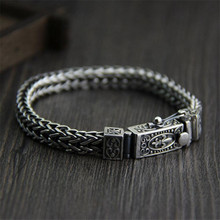 Thai Silver Mens Bracelet Wide Handmade Woven Braided Real 925 Sterling Personalized With Flower Pattern TYC134