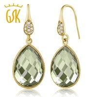 13 00 Ct Green Amethyst Pear Shape Gold Plated Silver Dangle Earrings