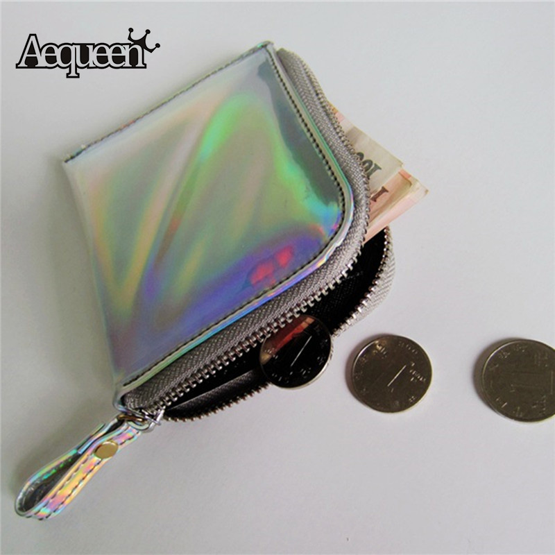 AEQUEEN Mini Hologram Wallet Laser Women Wallets PU Leather Coin Purse Shining Holographic Silver Short Purses Lady Card Holders aequeen crocodile leather gril wallet women short purses lady coin purse fashion stone 3 fold wallets girl id card holders brand