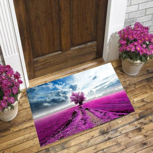Else Blue Sky White Clouds Purple Lavender Farm 3d Pattern Print Anti Slip Decorative Floor Door Mat Home Entryway Livingroom