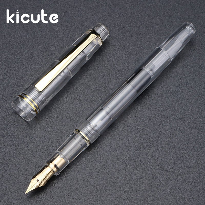 Kicute 1pcs 0.5mm Transparent Fountain Pen Fine Nib High Quality Office School Stationery Supplies Writing for Students and Kids pilot desk fountain pen dpn 70 extra fine nib fine nib medium nib black body red body writing supplies
