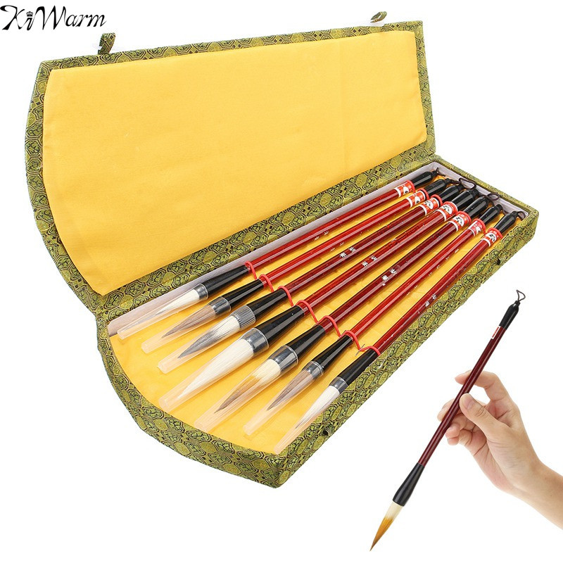 KiWarm 1Set 7Pcs Chinese Brush Pen Traditional Calligraphy Drawing Writing Painting Brushes with Gift Box Art Painting Supplies 5000 chinese characters word pen copybook hard pen calligraphy copybook learn writing supplies for china lovers 2017