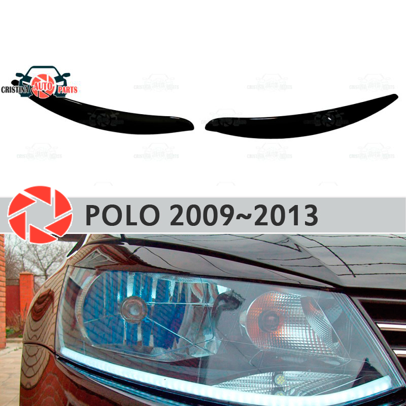 Eyebrows for Volkswagen Polo 2009~2013 for headlights cilia eyelash plastic moldings decoration trim car styling molding