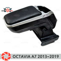 Armrest for Skoda Octavia A7 2013~2018 car arm rest central console leather storage box ashtray accessories car styling m2