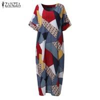 2017 ZANZEA Women Vintage V Neck Short Sleeve Floral Print Summer Loose Casual Midi Kaftan Dress