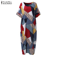 2017 ZANZEA Women Vintage V Neck Short Sleeve Floral Print Summer Loose Casual Midi Kaftan Dress