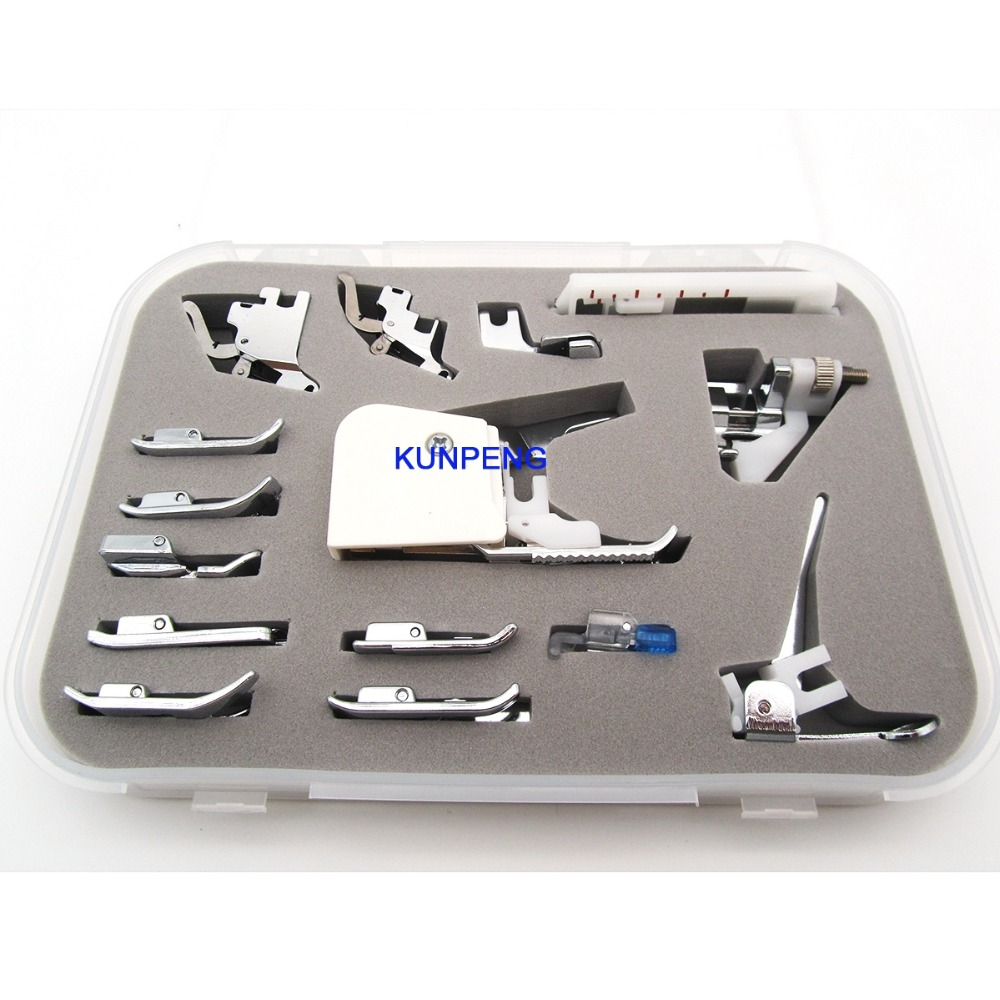 Universal 15pcs Presser Feet Both Low Shank And High Shank For Babylock, Bernina (Bernette Series), Brother And More