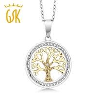 GemStoneKing Hai Tông 925 Sterling Silver Tree Of LifeFamily Tree Pendant Necklace Với Kim Cương Giọng