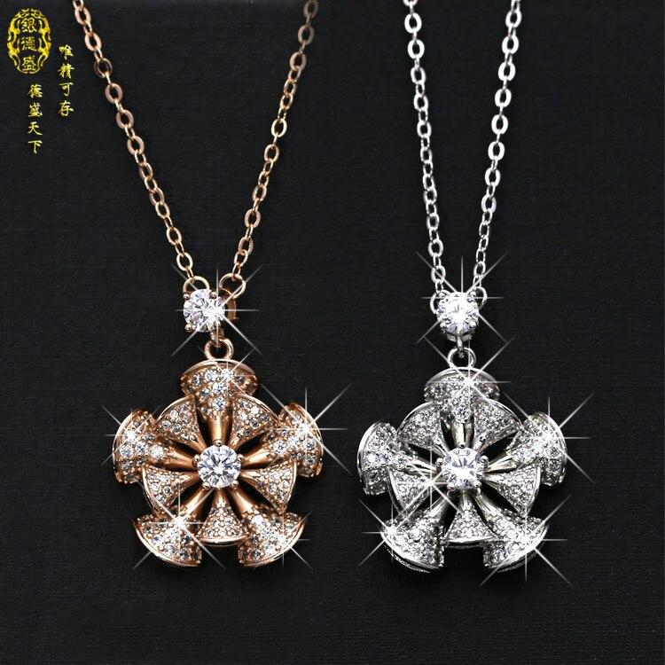 Wedding Rotary Flower Windmill 100% 925 silver Original Crystals From Swarovski Pendant Necklaces Women