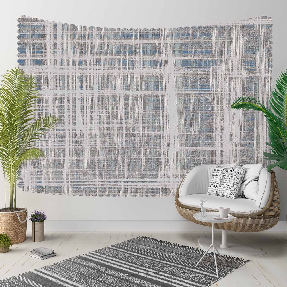 Else Gray Blue White Lines Geometric Nordec Modern 3D Print Decorative Hippi Bohemian Wall Hanging Landscape Tapestry Wall Art