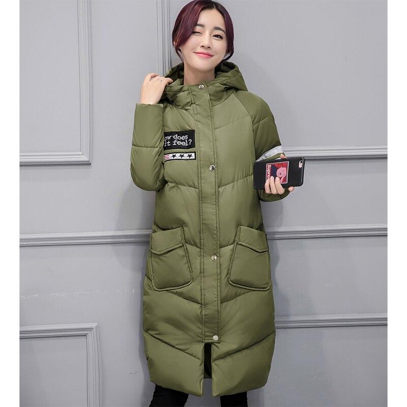 Veste d'hiver Femmes Casual Long Chaud Vers Le Bas Coton-rembourré À Capuchon Parkas Veste Manteau Grande Poche Outwear Manteau