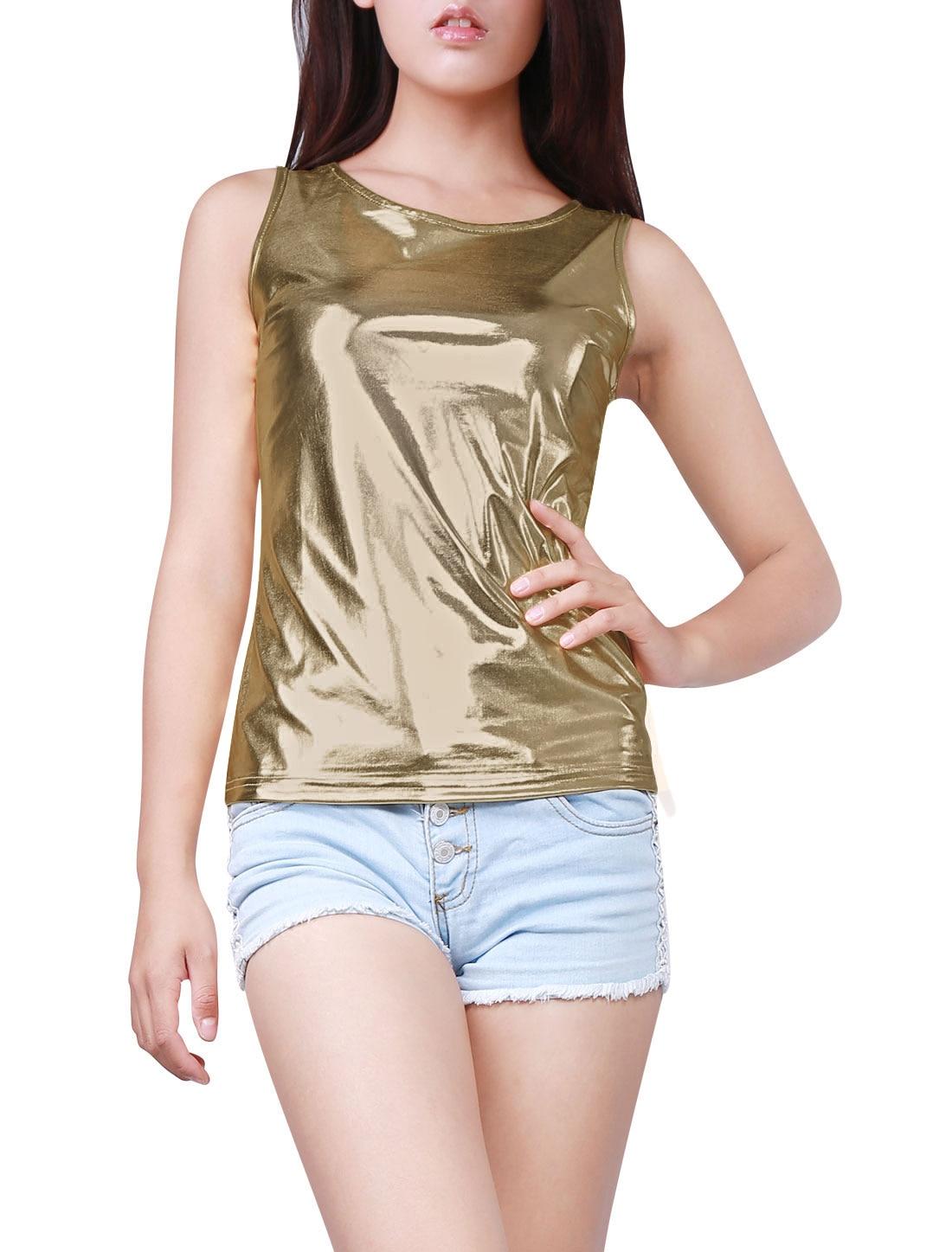 a04538e74ba8d4 Allegra K Woman U Neck Stretchy Slim Fit Metallic Tank Top-in T-Shirts from  Women s Clothing on Aliexpress.com