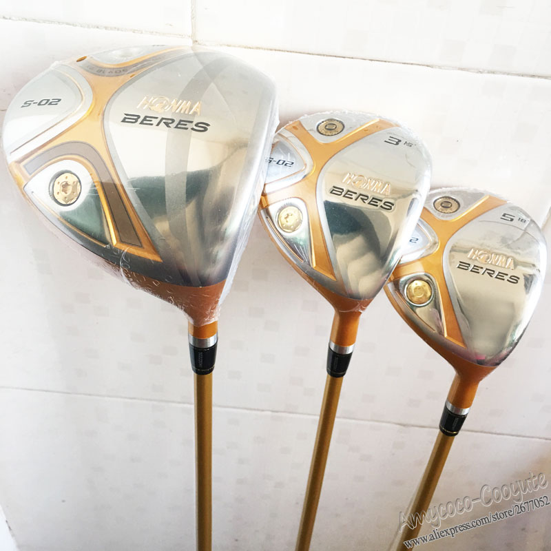 New Cooyute mens Golf Clubs HONMA S-02 4Star Golf wood Set driver+3/5Woods Graphite Golf shaft wood headcover Free shipping new honma golf tour world tw717v 24k golf irons set 3 11sw 10pc golf clubs graphite shaft dhlfree shipping