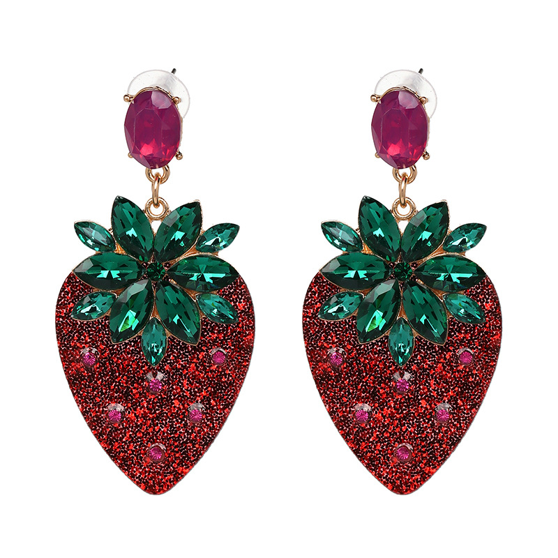 New 2018 Big Red Strawberry Cherry Earrings Personality Acrylic Fruit Drop Earrings For Women Lady Night Club Party Jewelry image